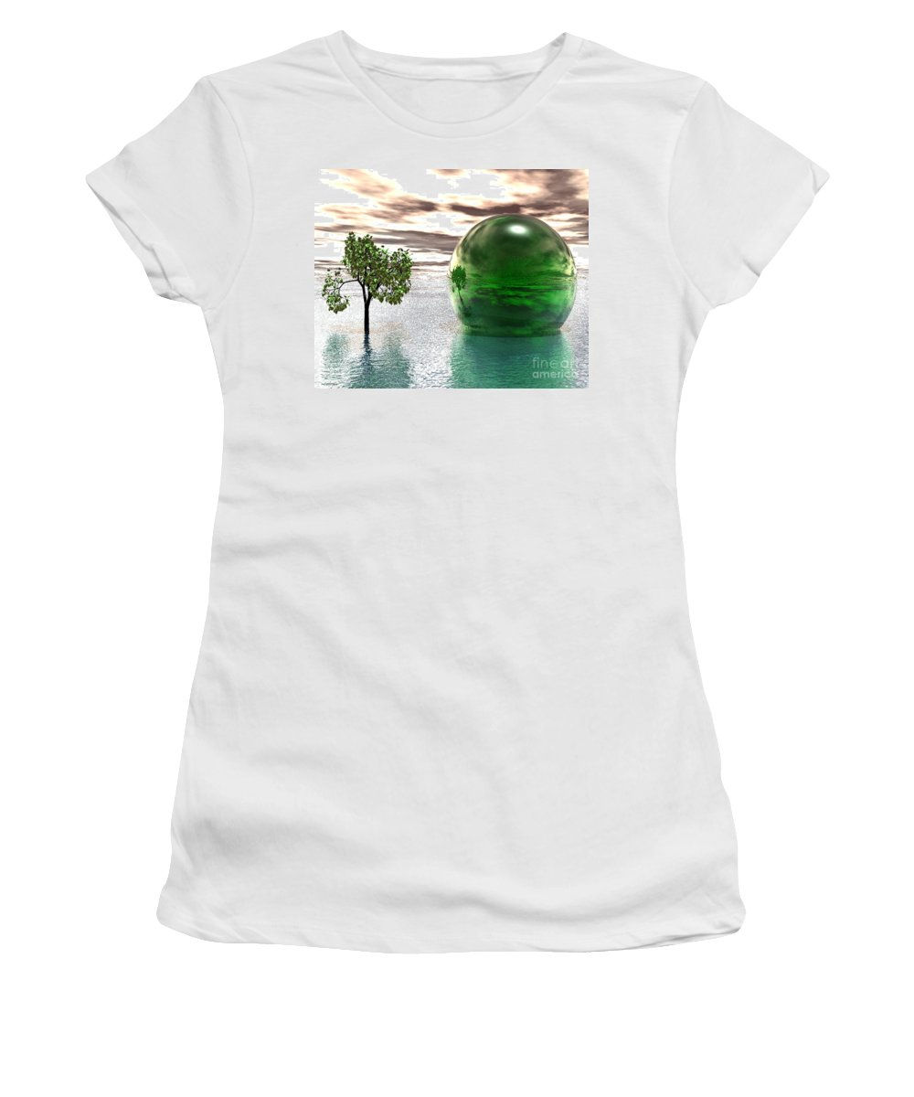 Surreal Women's T-Shirt (Athletic Fit) featuring the digital art Mystic Surreal In Green by Oscar Basurto Carbonell