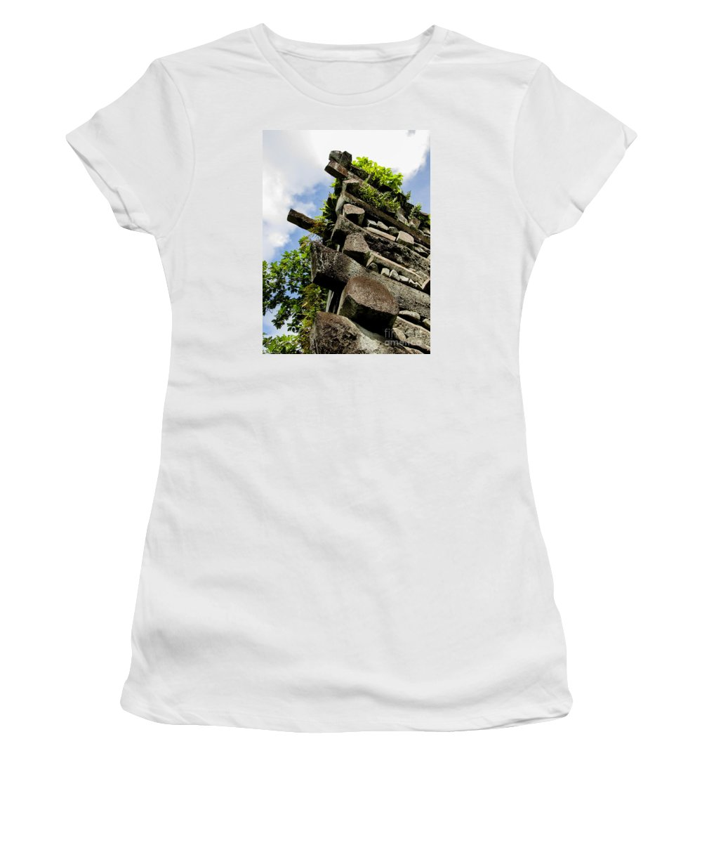 Nan Madol Women's T-Shirt (Athletic Fit) featuring the photograph Nan Madol Wall by Dan Norton