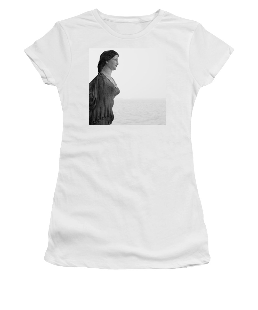 Nantucket Women's T-Shirt (Athletic Fit) featuring the photograph Nantucket Figurehead by Charles Harden