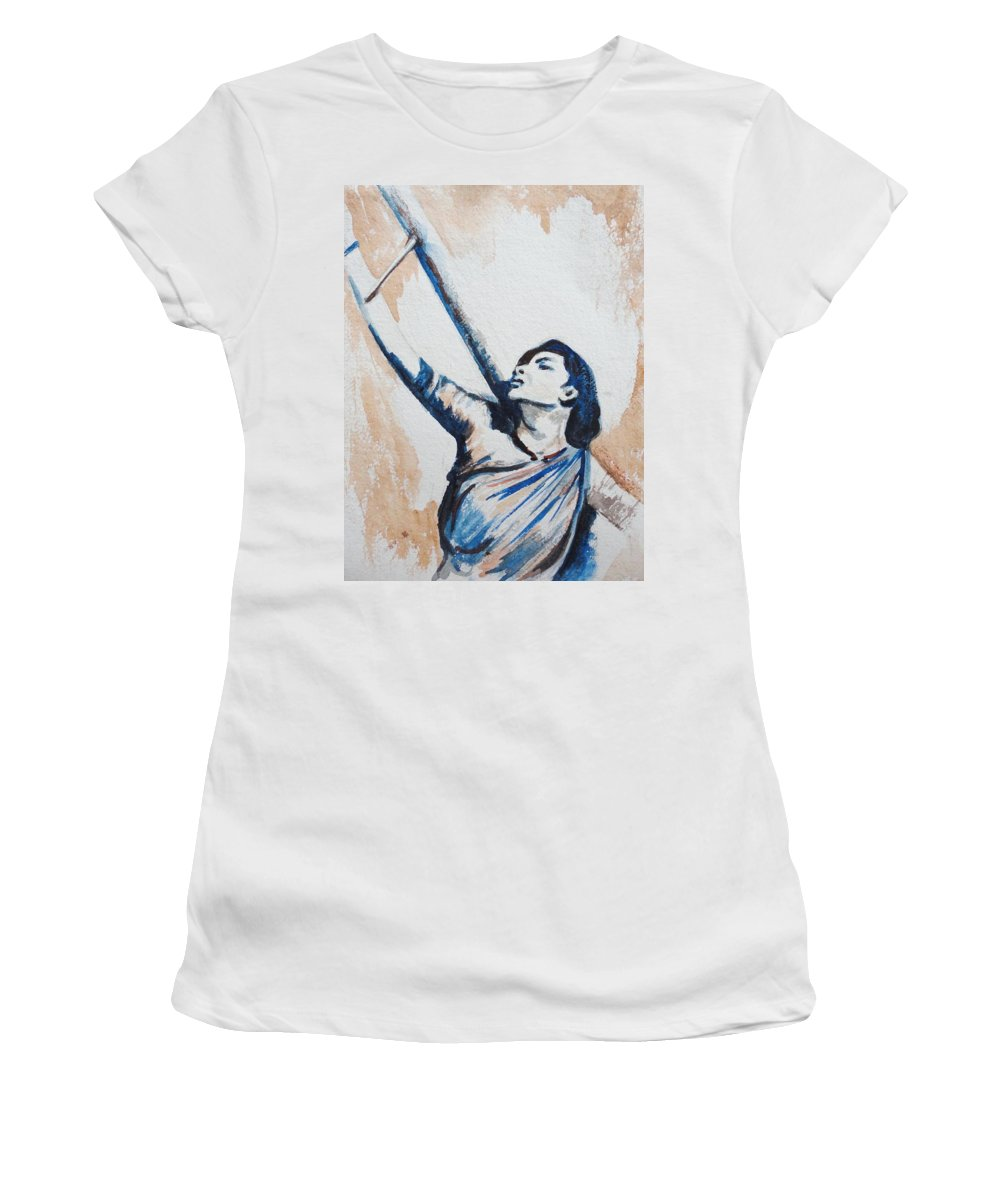 Women's T-Shirt featuring the painting Nargis Bollywood Star by Usha Shantharam