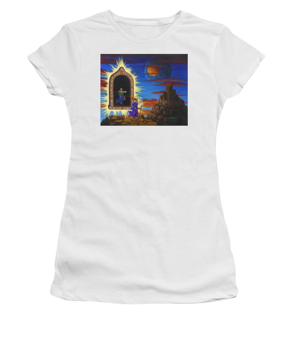 Fantasy Women's T-Shirt (Junior Cut) featuring the painting Narrow Escape by Roz Eve