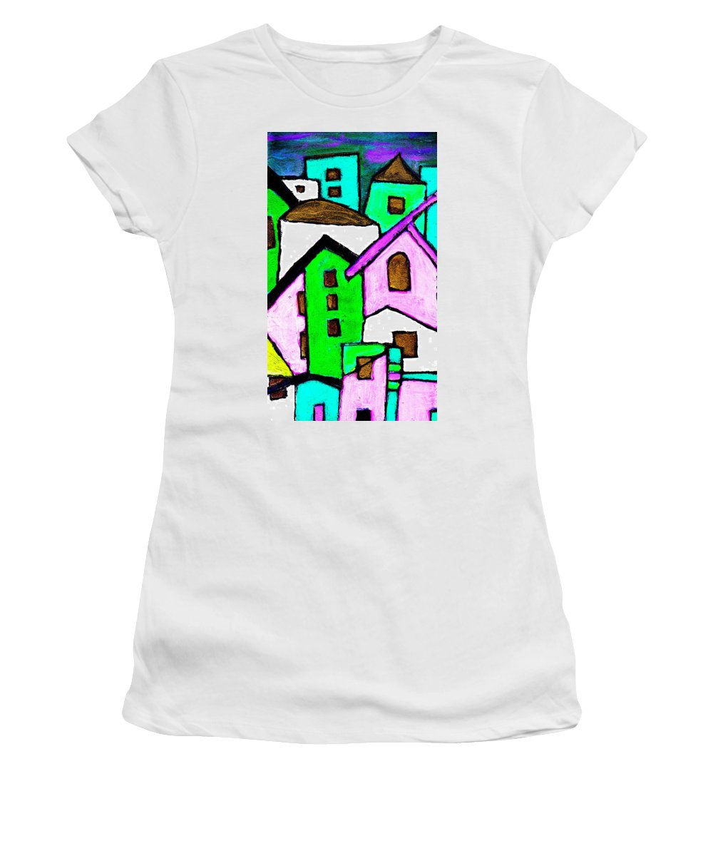 Village Women's T-Shirt (Athletic Fit) featuring the painting Narrow Village by Wayne Potrafka