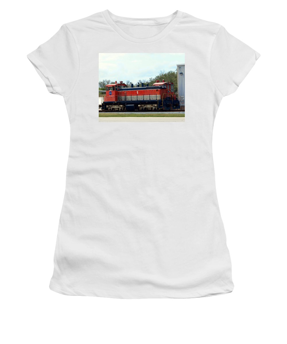 Airforce; Air Force; Air; Force; U.s.; Locomotive; Engine; Rail; Road; Railroad; Railway; Train; Gro Women's T-Shirt (Athletic Fit) featuring the photograph Nasa Space Shuttle Railroad by Allan Hughes