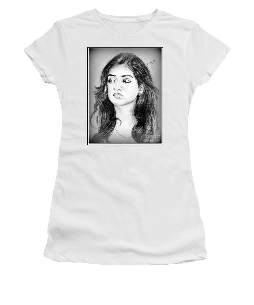Women's T-Shirt (Athletic Fit) featuring the drawing Nasriya by Divya Bichu