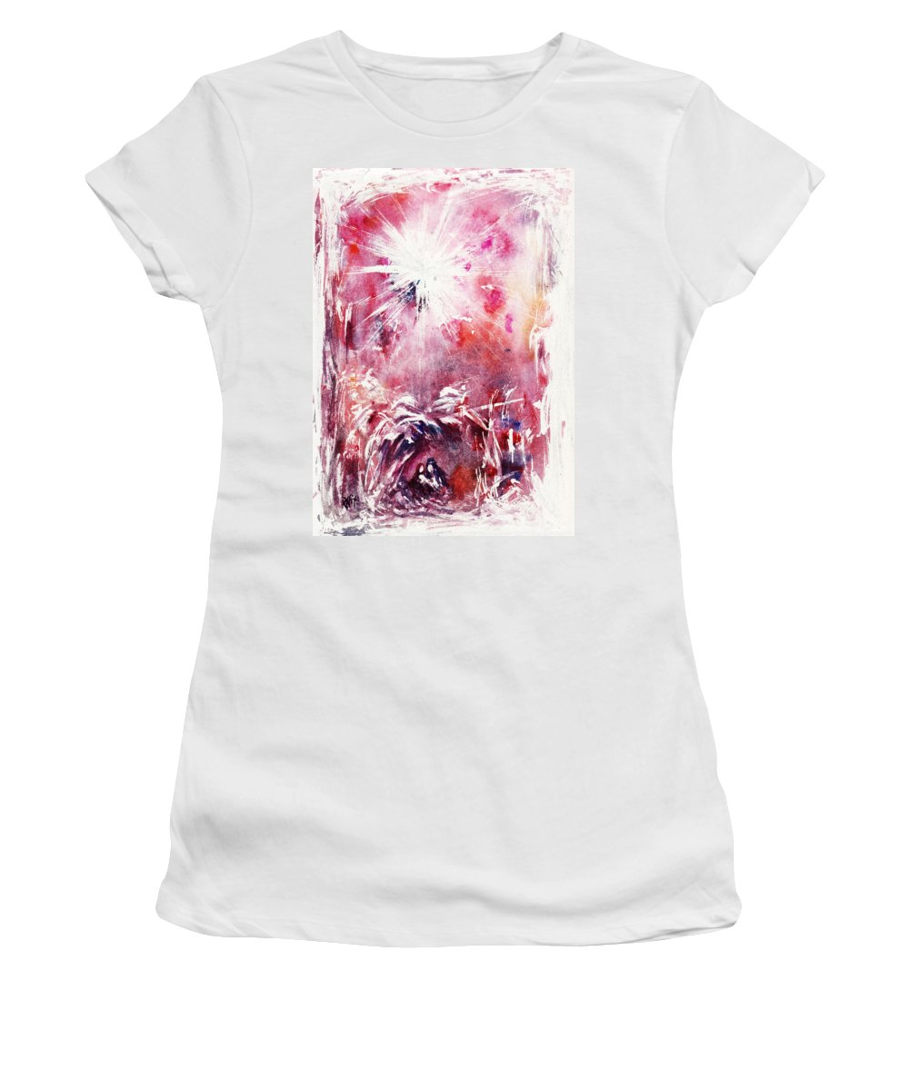 Nativity Women's T-Shirt (Athletic Fit) featuring the painting Nativity 5 by Rachel Christine Nowicki