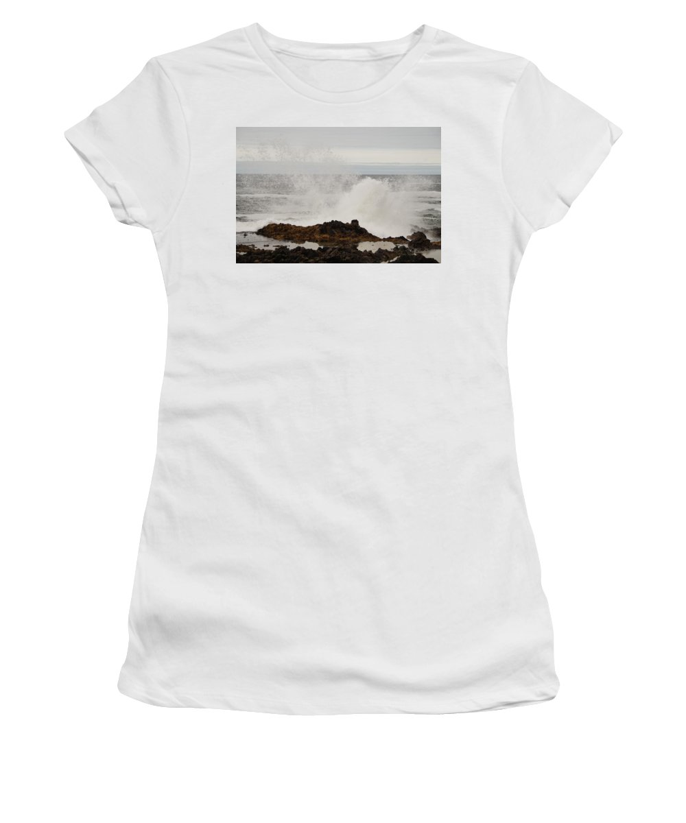 Cape Perpetua Women's T-Shirt (Athletic Fit) featuring the photograph Nature's Force by Beth Collins