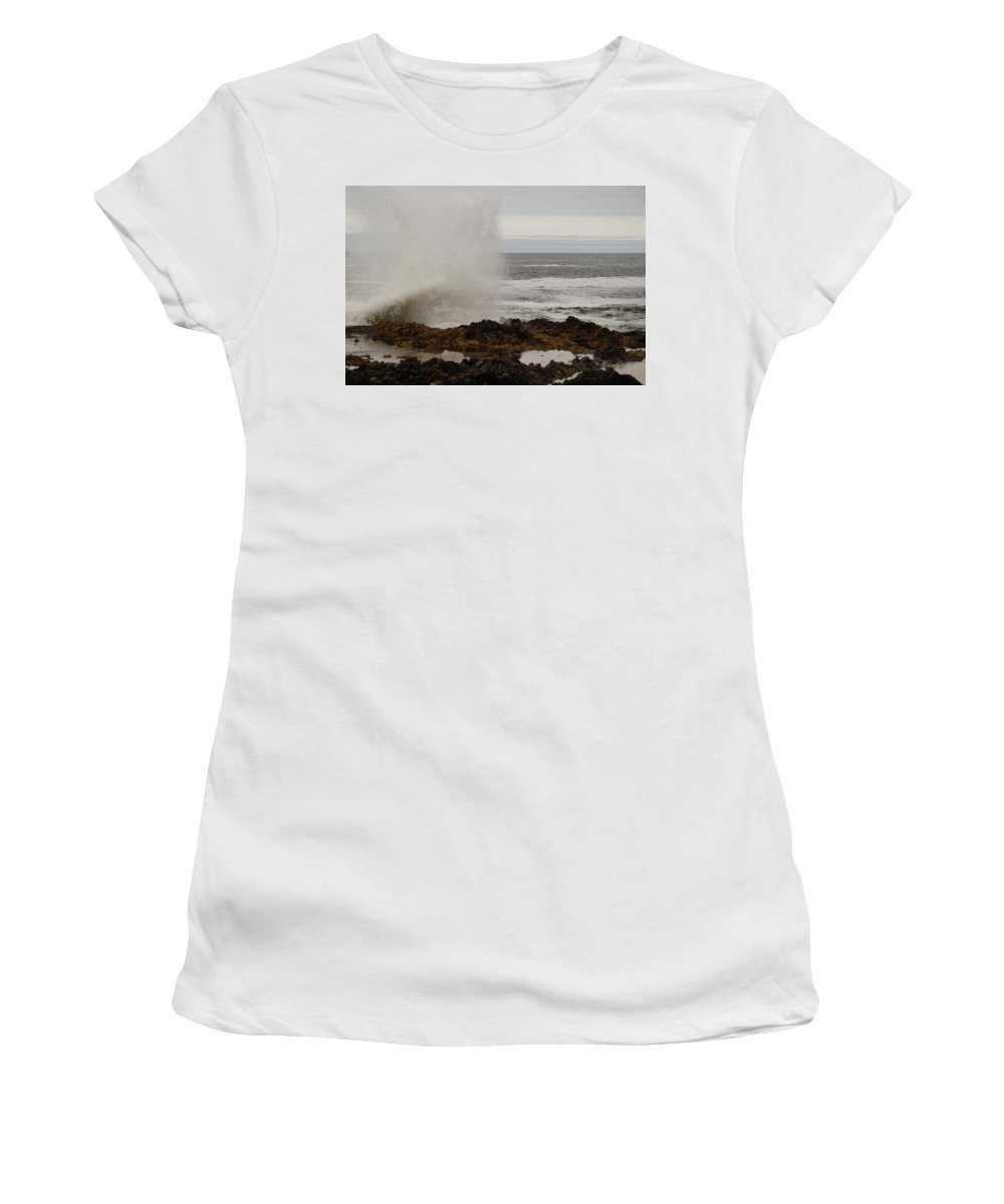 Cape Perpetua Women's T-Shirt (Athletic Fit) featuring the photograph Nature's Power by Beth Collins