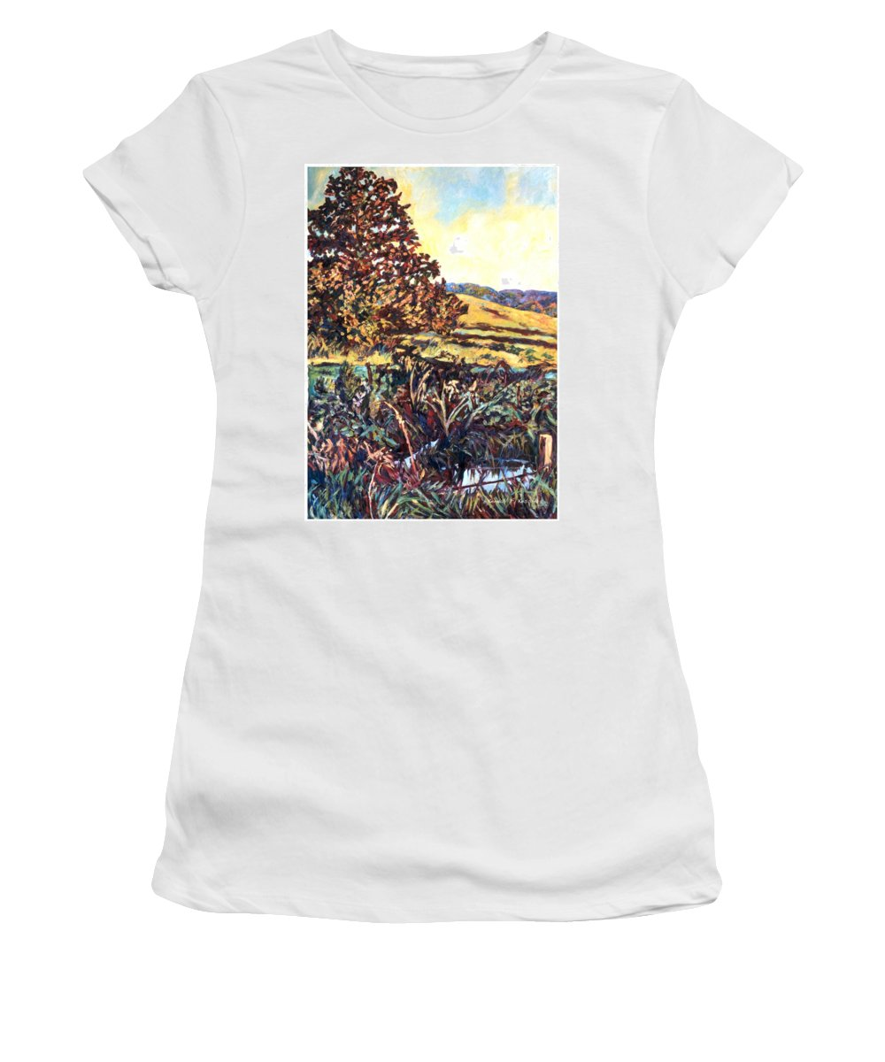 Landscape Women's T-Shirt (Athletic Fit) featuring the painting Near Childress by Kendall Kessler