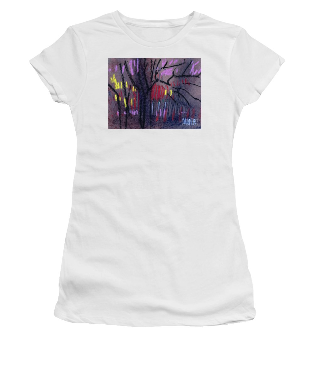 Abstract Women's T-Shirt (Athletic Fit) featuring the drawing Neighbor's Lights by Donald Maier