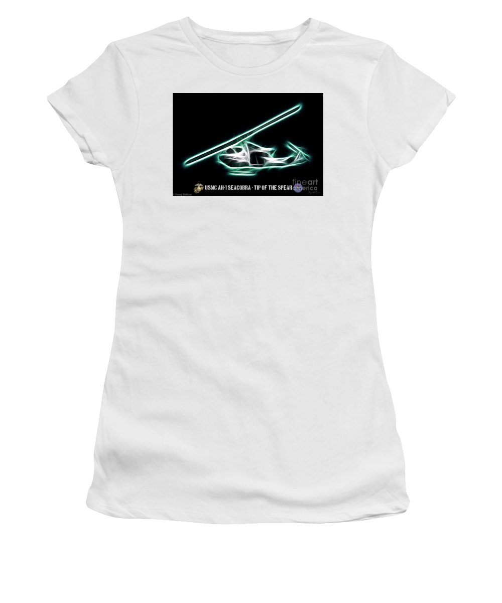 Bell Ah-1w Cobra Women's T-Shirt (Athletic Fit) featuring the digital art Neon Sea Cobra by Tommy Anderson