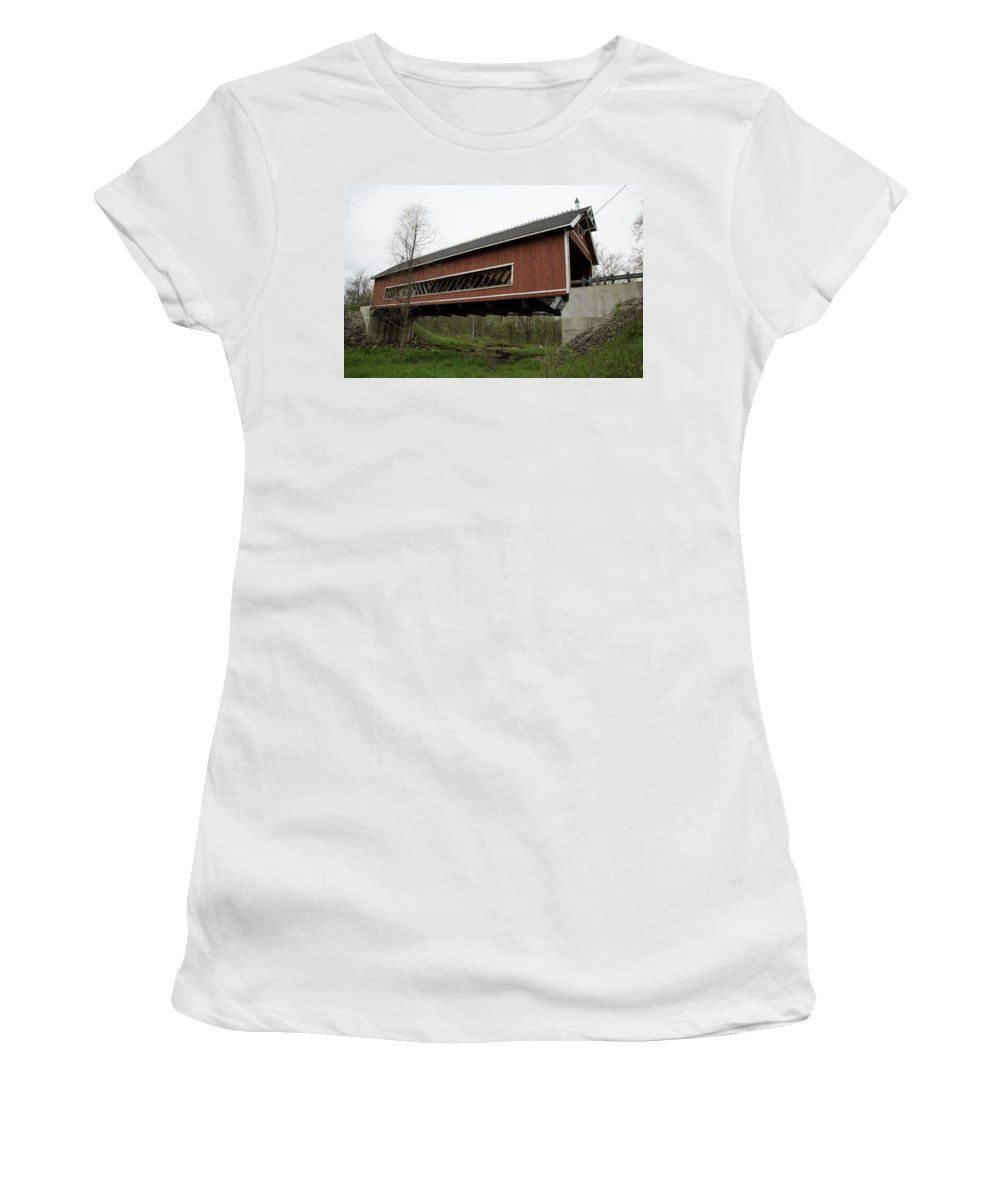 Digital Women's T-Shirt featuring the photograph Netcher Road Covered Bridge 2 by Jeff Roney