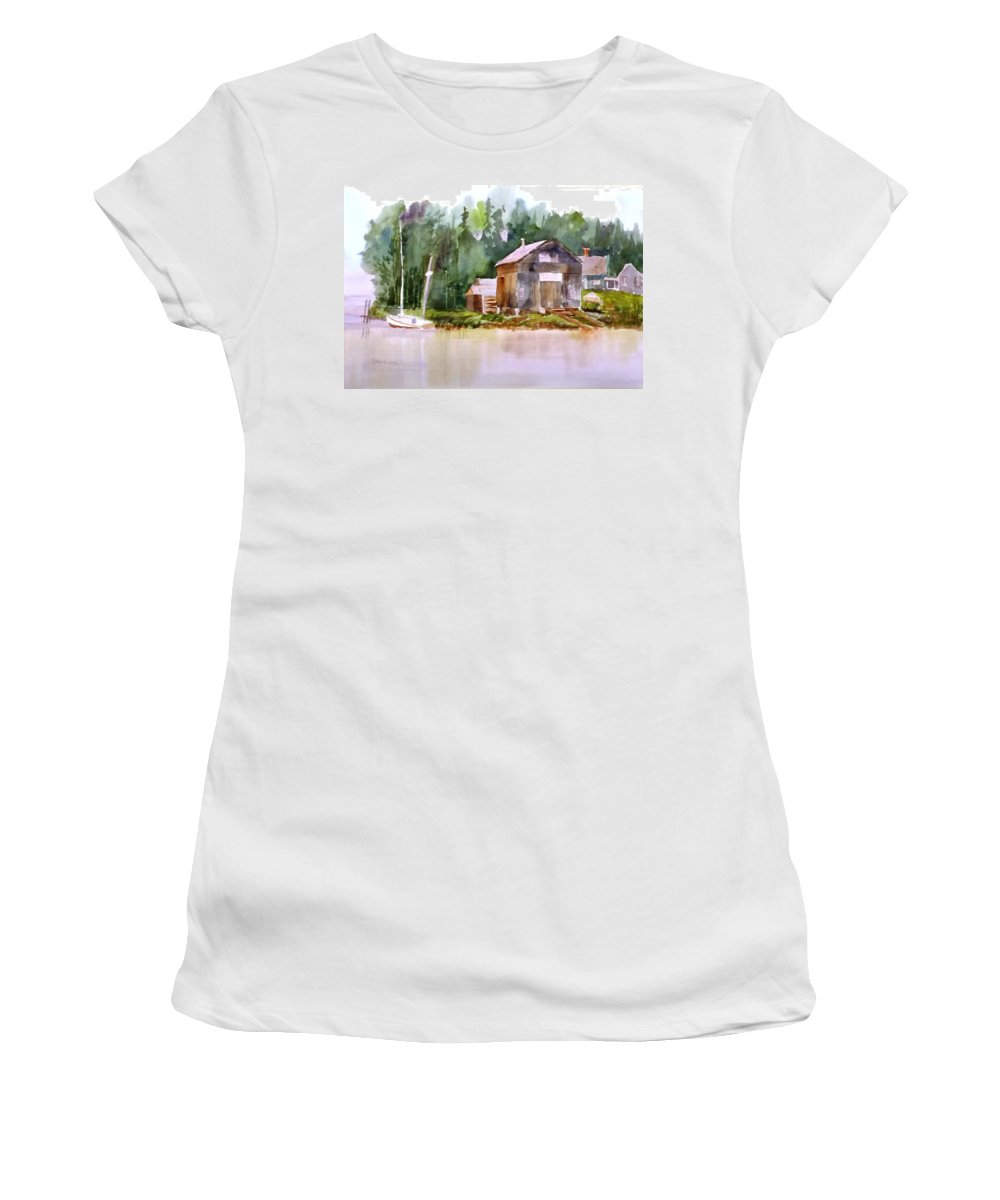 New England Women's T-Shirt (Athletic Fit) featuring the painting New England Boat Repair by Larry Hamilton