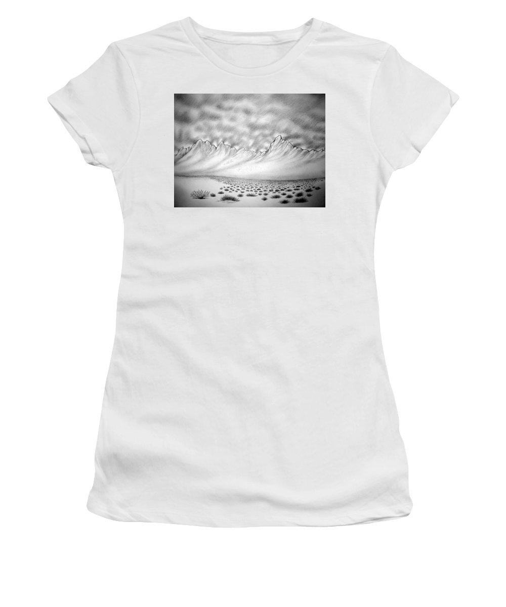 Women's T-Shirt (Athletic Fit) featuring the drawing New Mexico Passage by Marco Morales