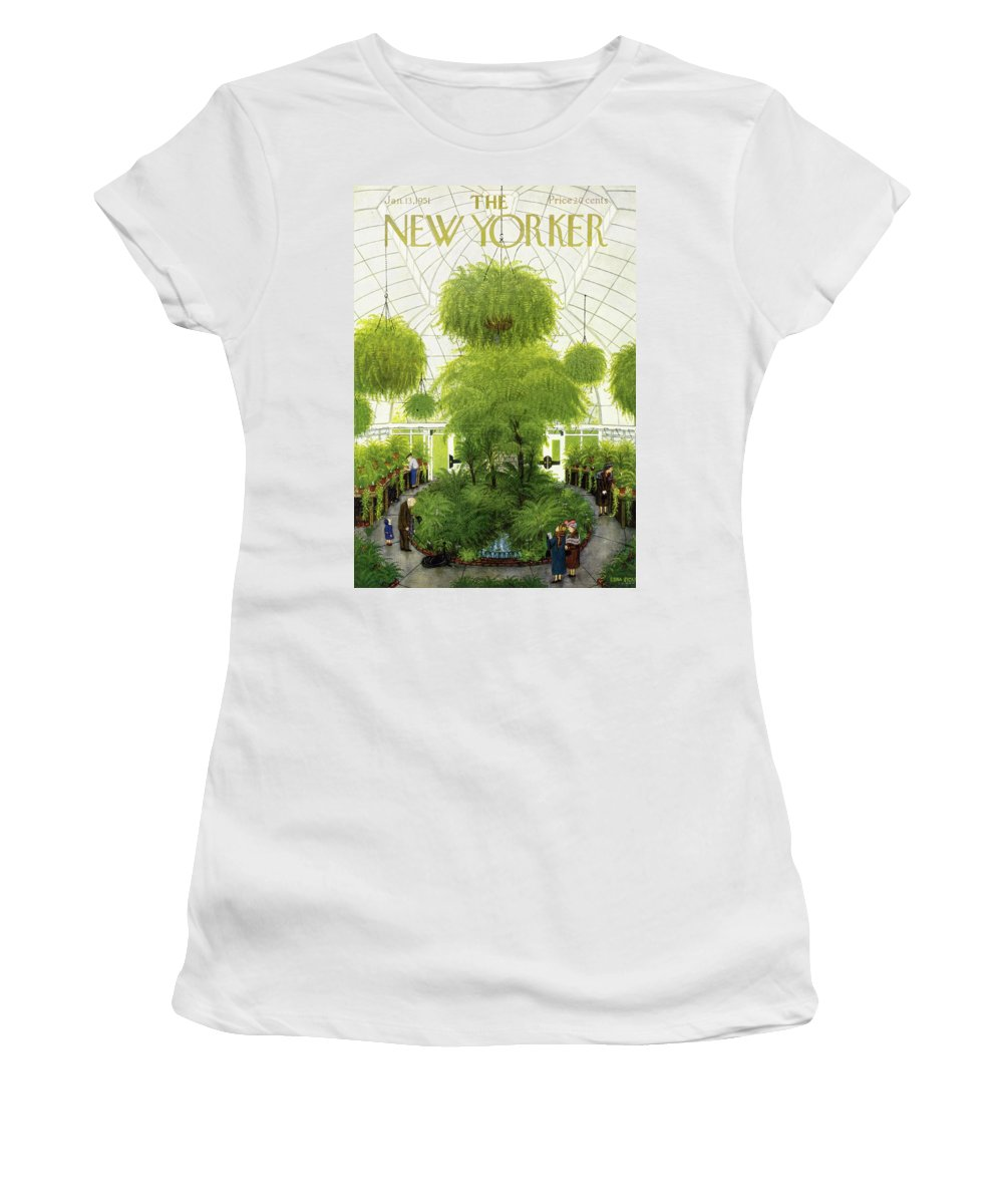 Greenhouse Women's T-Shirt featuring the painting New Yorker January 13 1951 by Edna Eicke