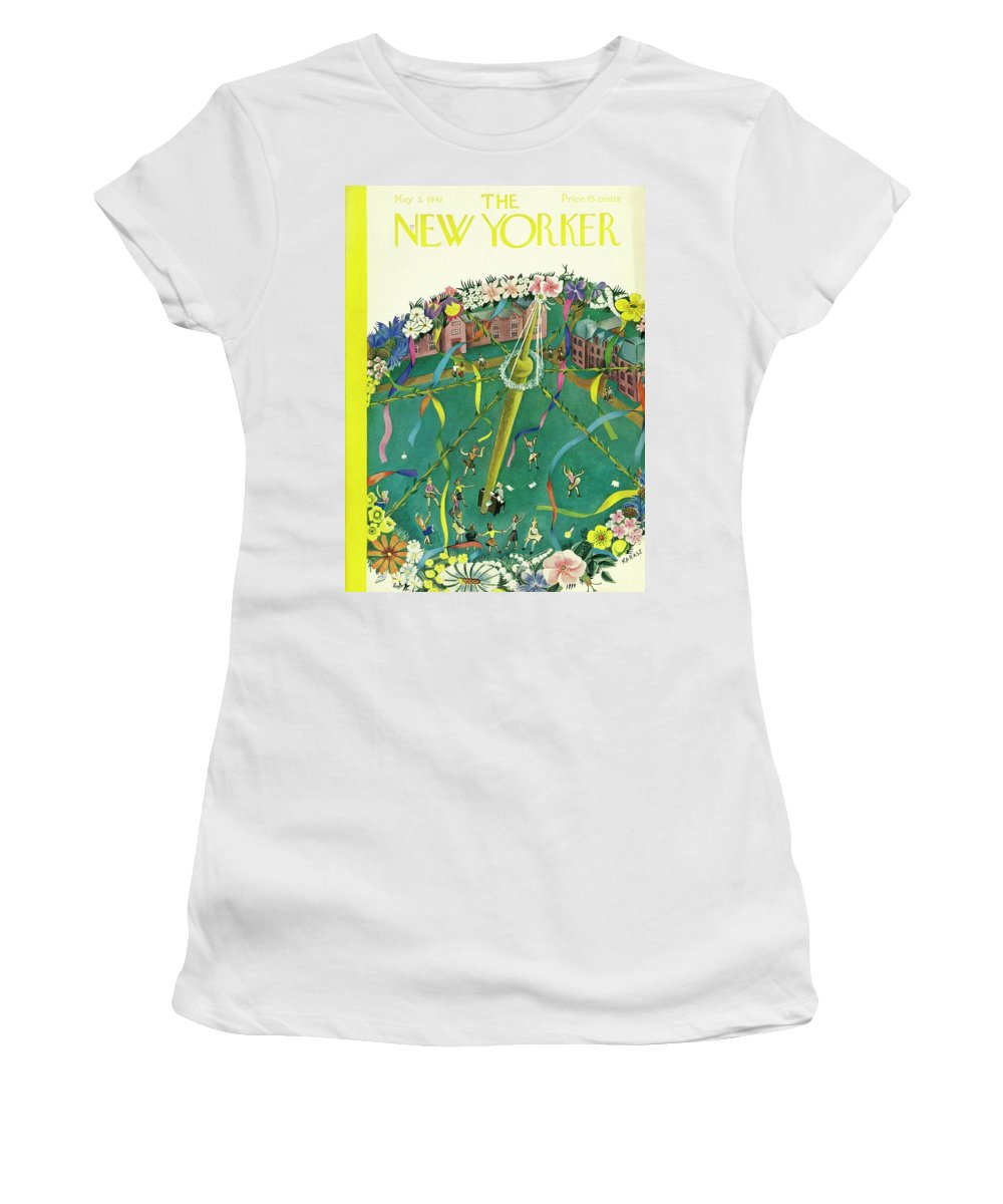 Spring Women's T-Shirt featuring the painting New Yorker May 3 1941 by Ilonka Karasz