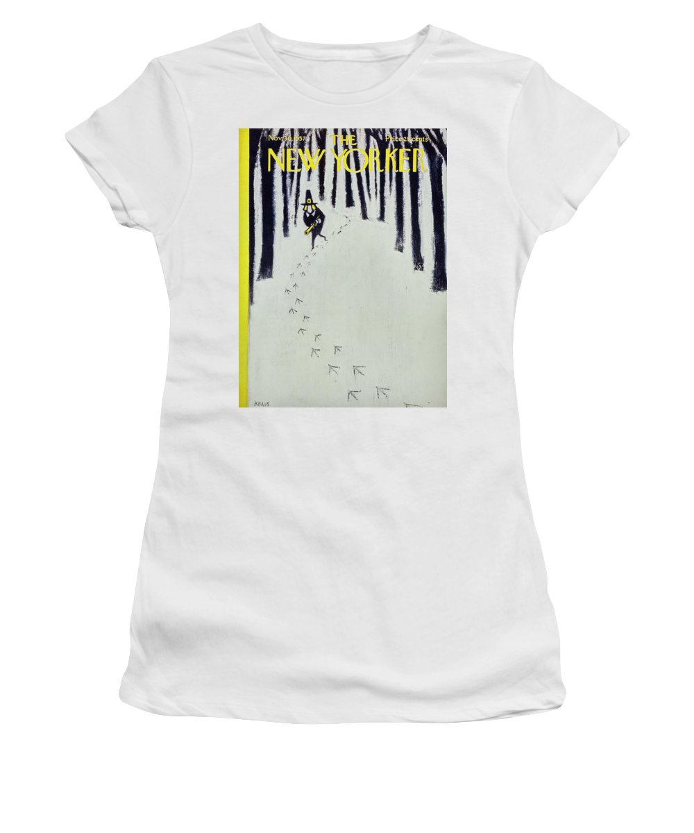 Thanksgiving Women's T-Shirt featuring the painting New Yorker November 30 1957 by Robert Kraus