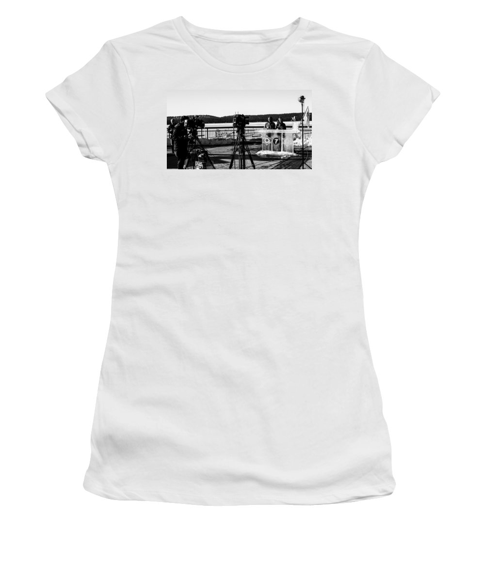 Mccall Women's T-Shirt featuring the photograph Newscasters by Angus Hooper Iii