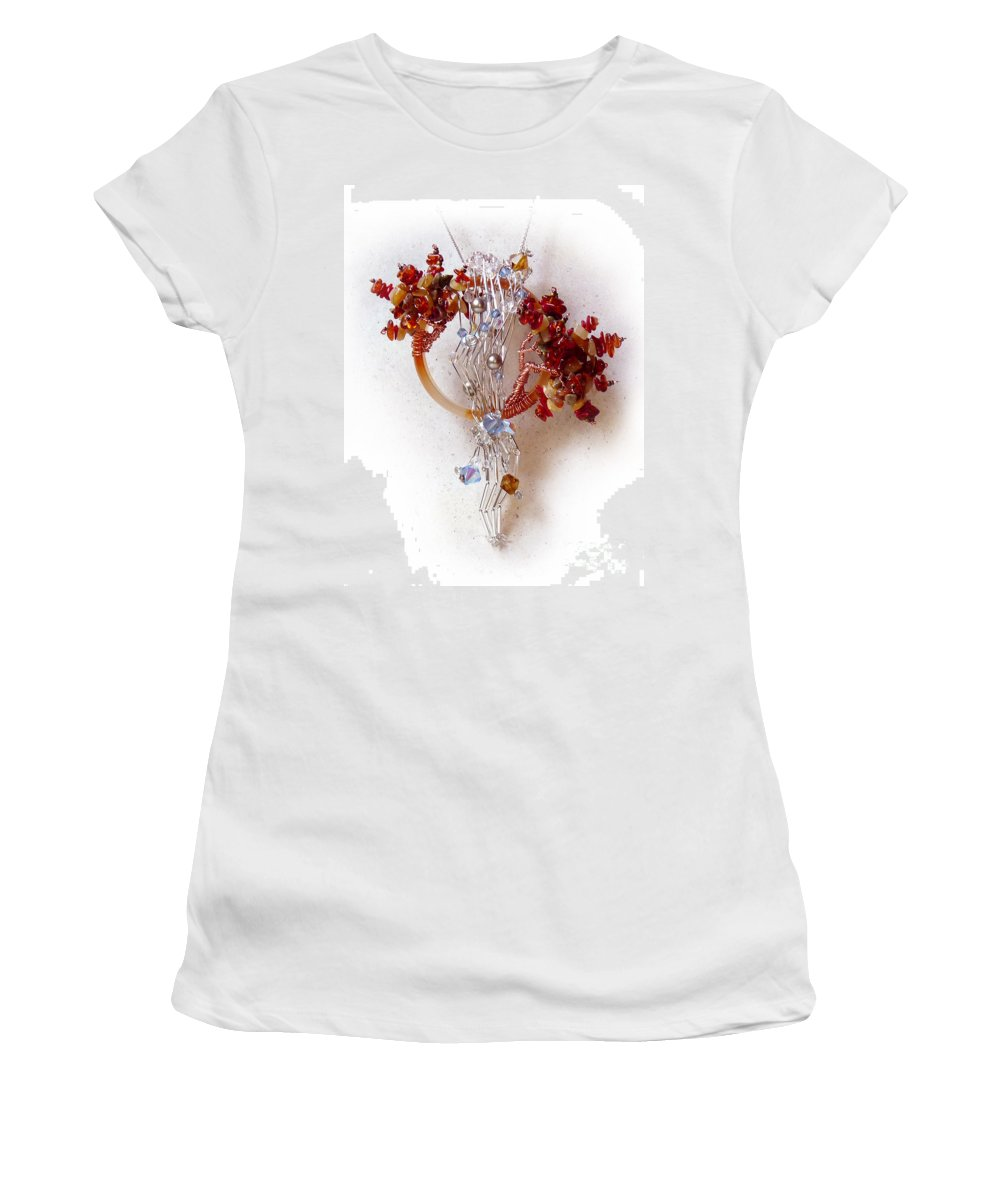 Sterling Silver Women's T-Shirt (Athletic Fit) featuring the sculpture Niagra Fall by Rhonda Chase
