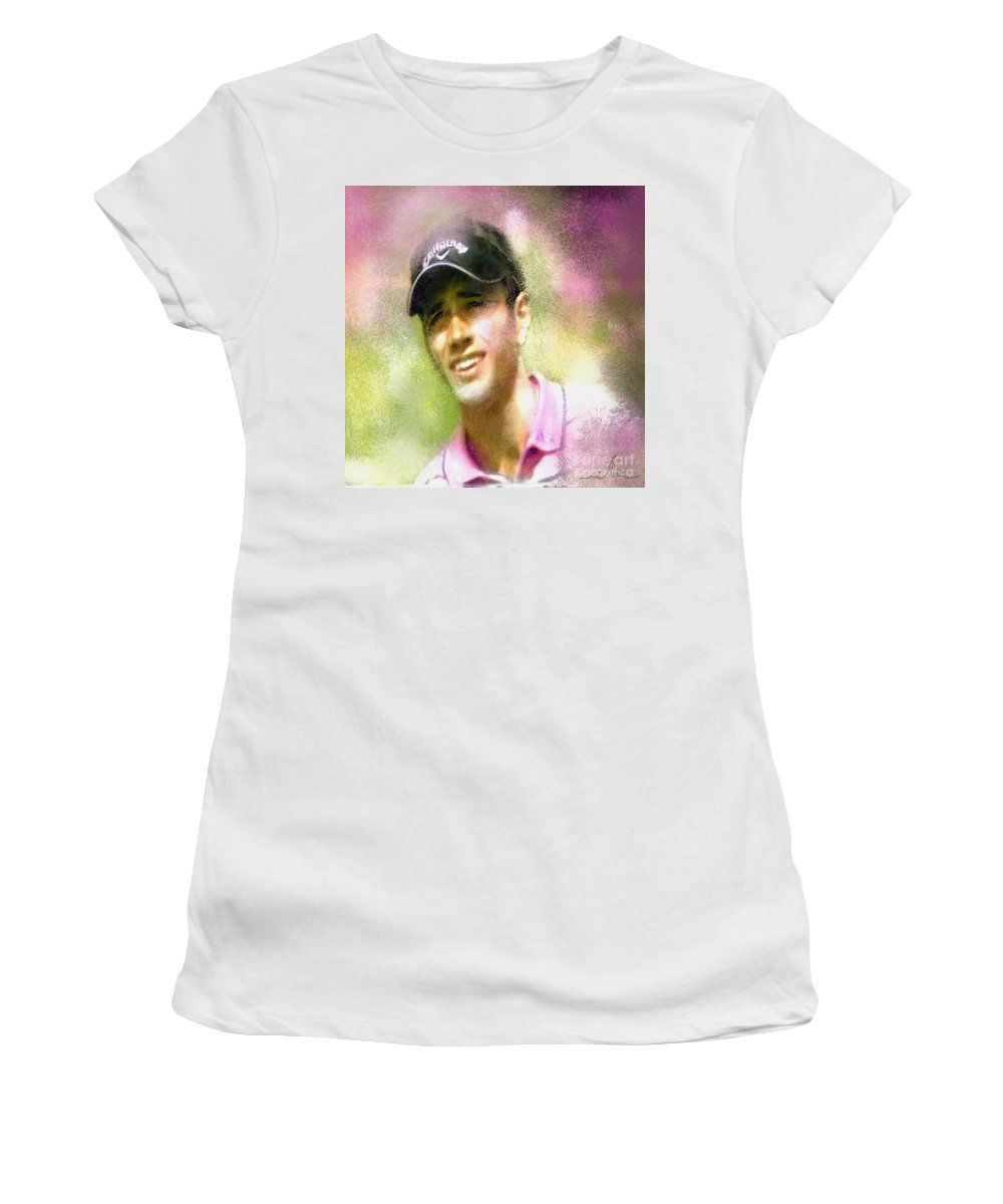 Golf Women's T-Shirt (Athletic Fit) featuring the painting Nick Dougherty In The Golf Trophee Hassan II In Morocco by Miki De Goodaboom