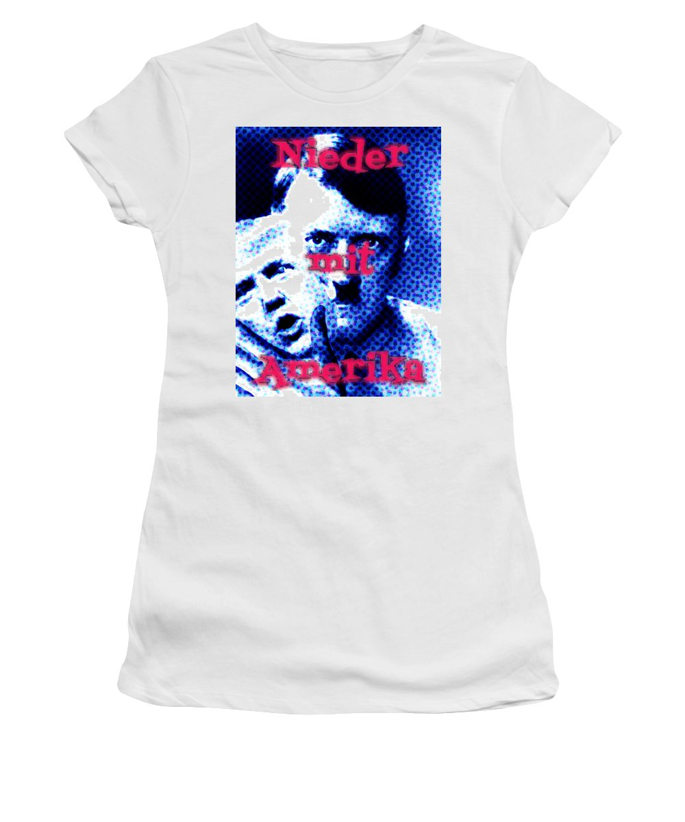 Political Women's T-Shirt (Athletic Fit) featuring the photograph Nieder Mit Amerika by John DeSantis