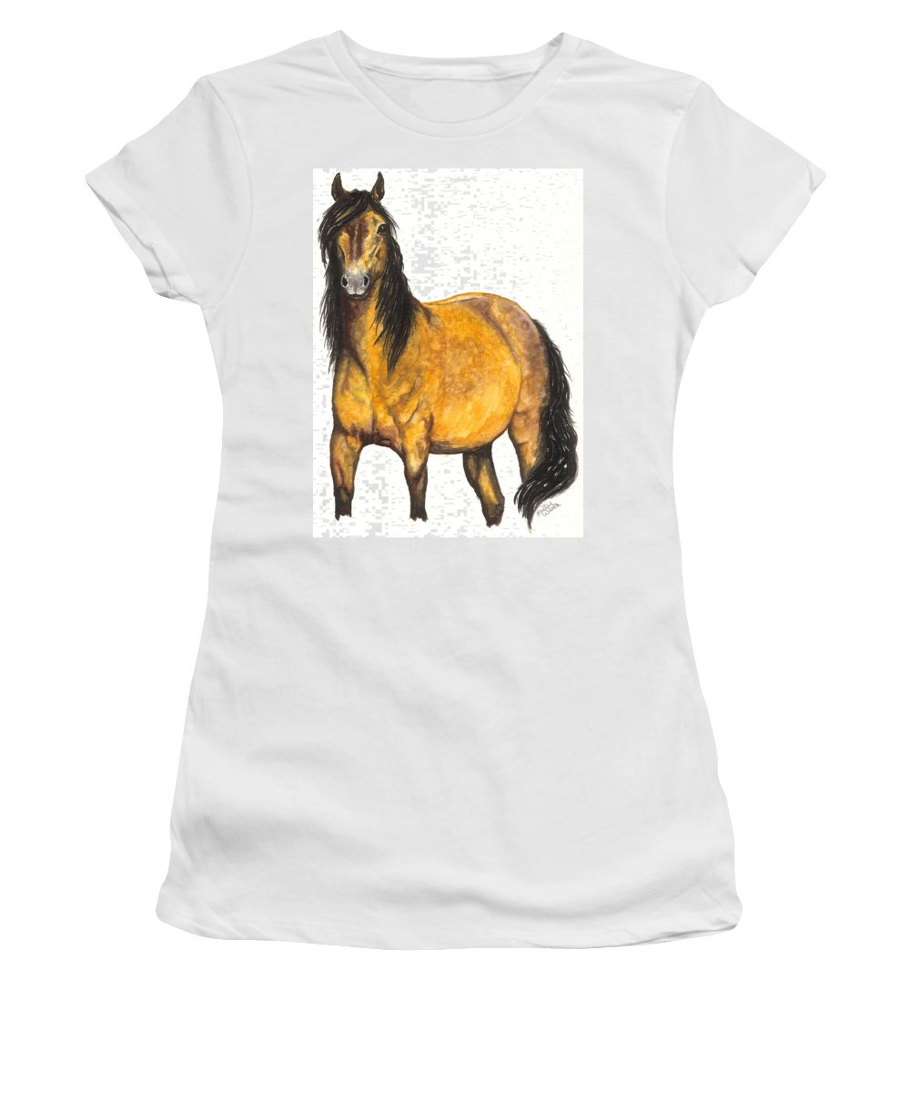 Horse Women's T-Shirt (Athletic Fit) featuring the painting Nifty by Kristen Wesch