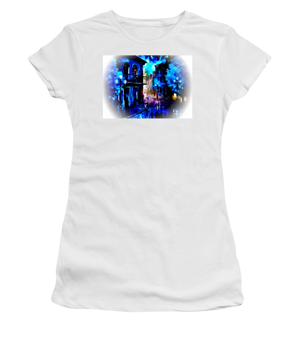 French Quarter Women's T-Shirt featuring the digital art Night Walking In New Orleans by Rod Jellison