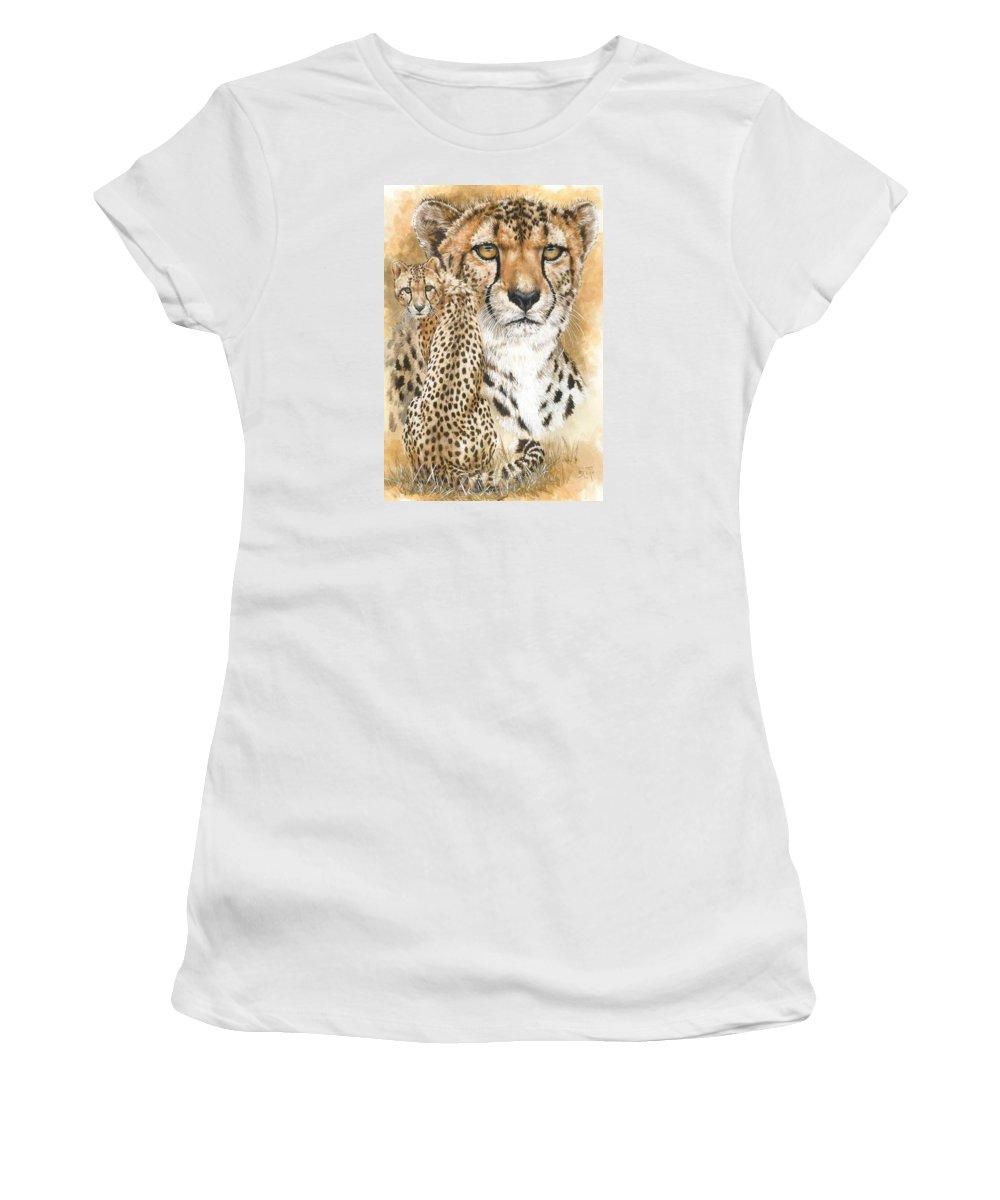 Cheetah Women's T-Shirt featuring the mixed media Nimble by Barbara Keith