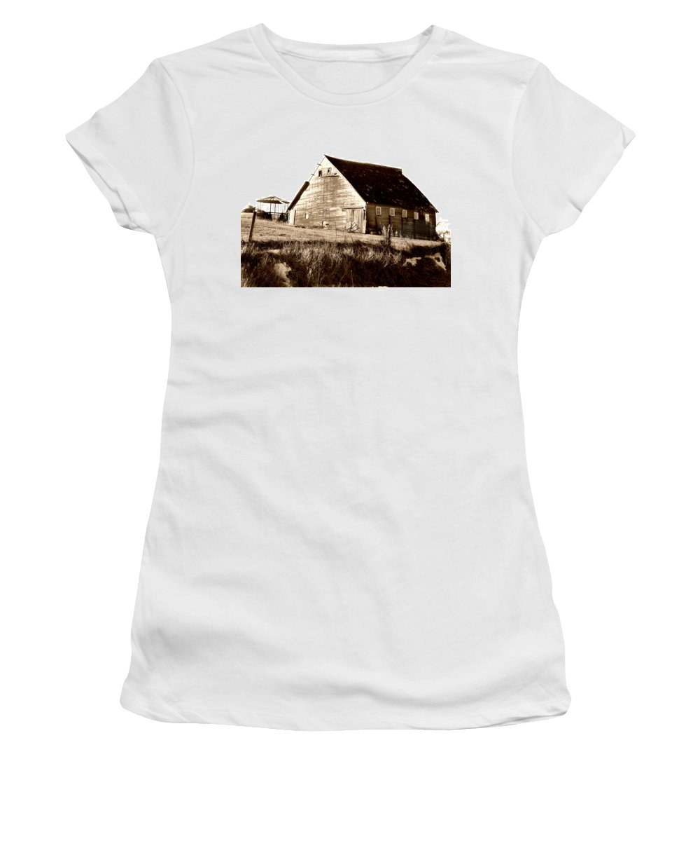 Barn Women's T-Shirt (Athletic Fit) featuring the digital art No Use by Julie Hamilton