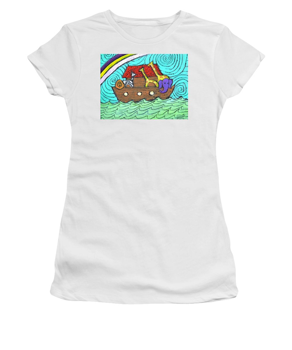 Children's Women's T-Shirt (Athletic Fit) featuring the painting Noahs Ark Two by Wayne Potrafka