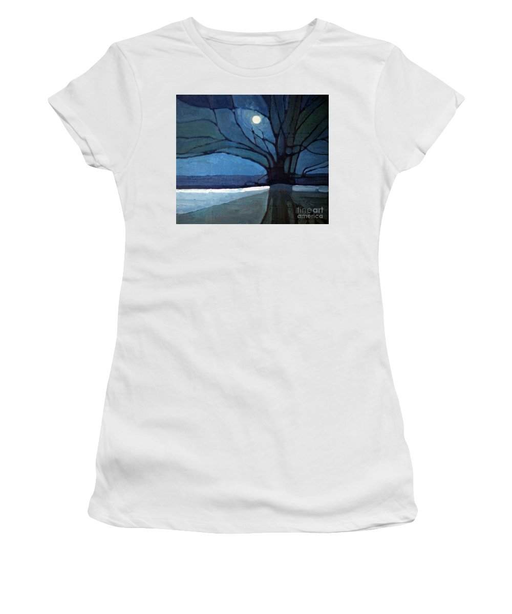 Moonrise Women's T-Shirt (Athletic Fit) featuring the painting Nocturne 71 by Donald Maier