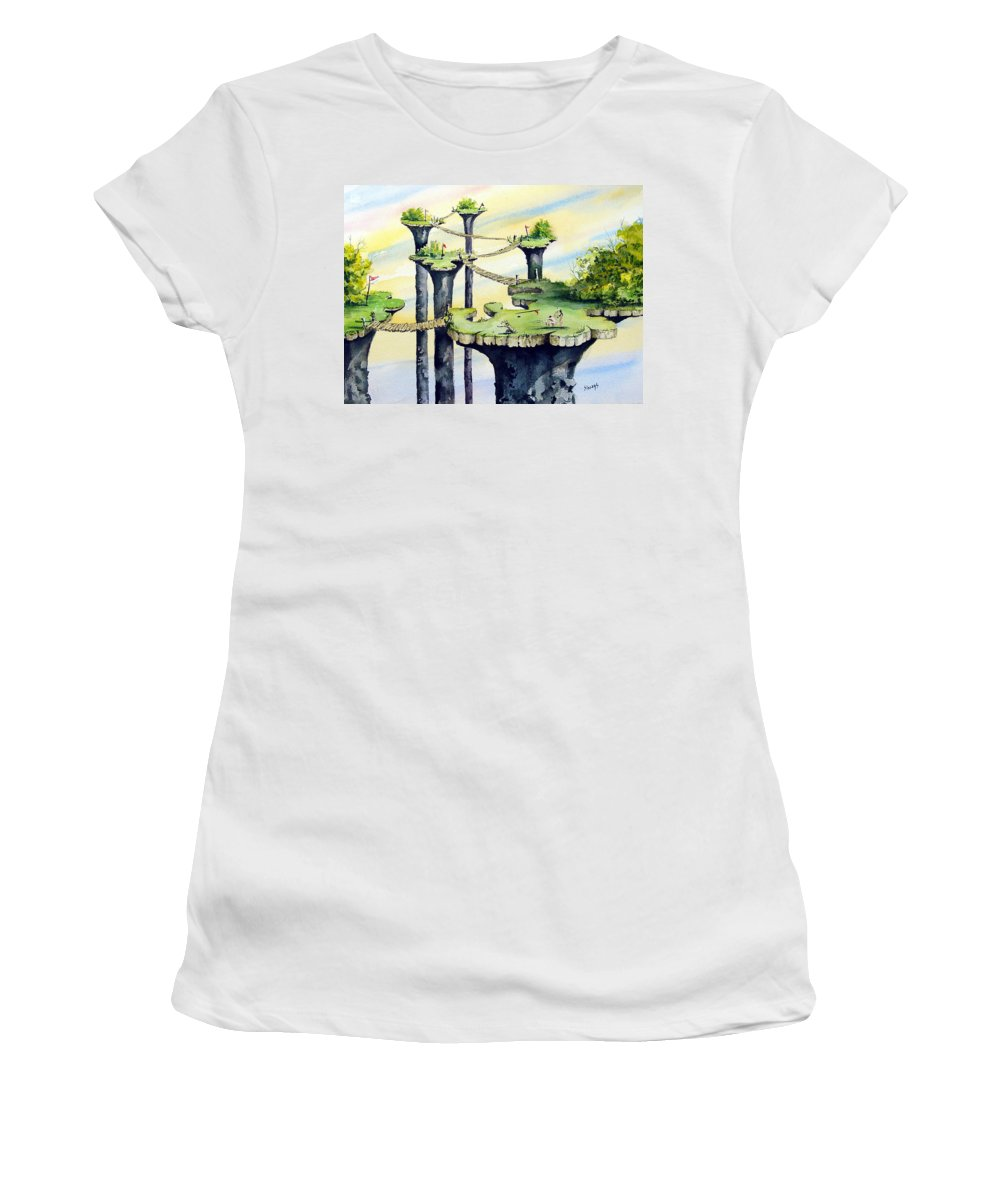 Golf Women's T-Shirt featuring the painting Nod Country Club by Sam Sidders