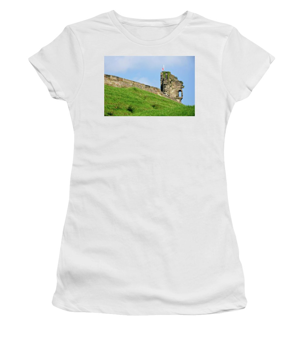 Bright Women's T-Shirt featuring the photograph North Tower- Tutbury Castle by Rod Johnson