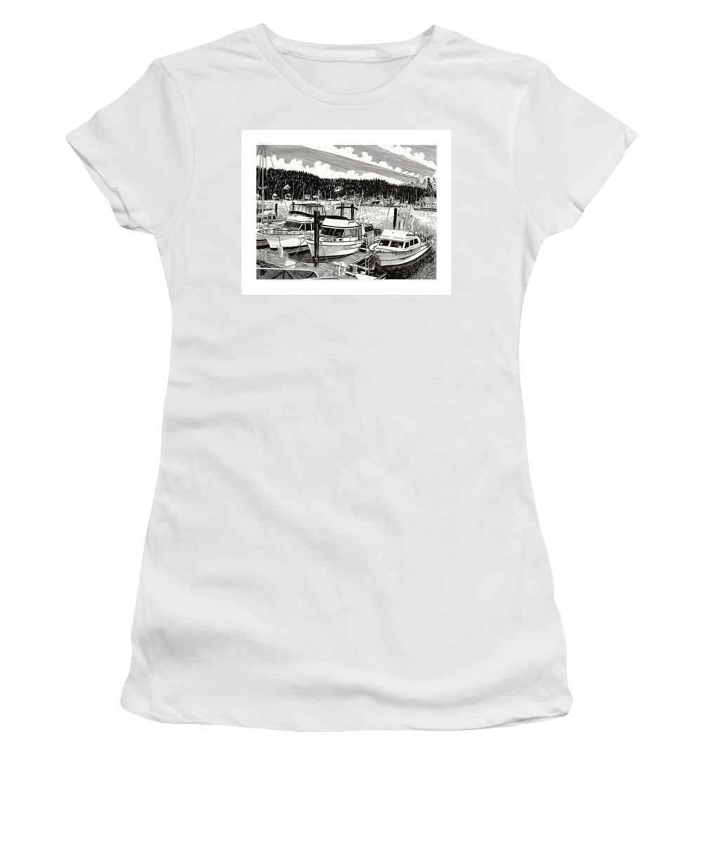 Yacht Portraits Women's T-Shirt (Athletic Fit) featuring the drawing Gig Harbor Yacht Moorage by Jack Pumphrey