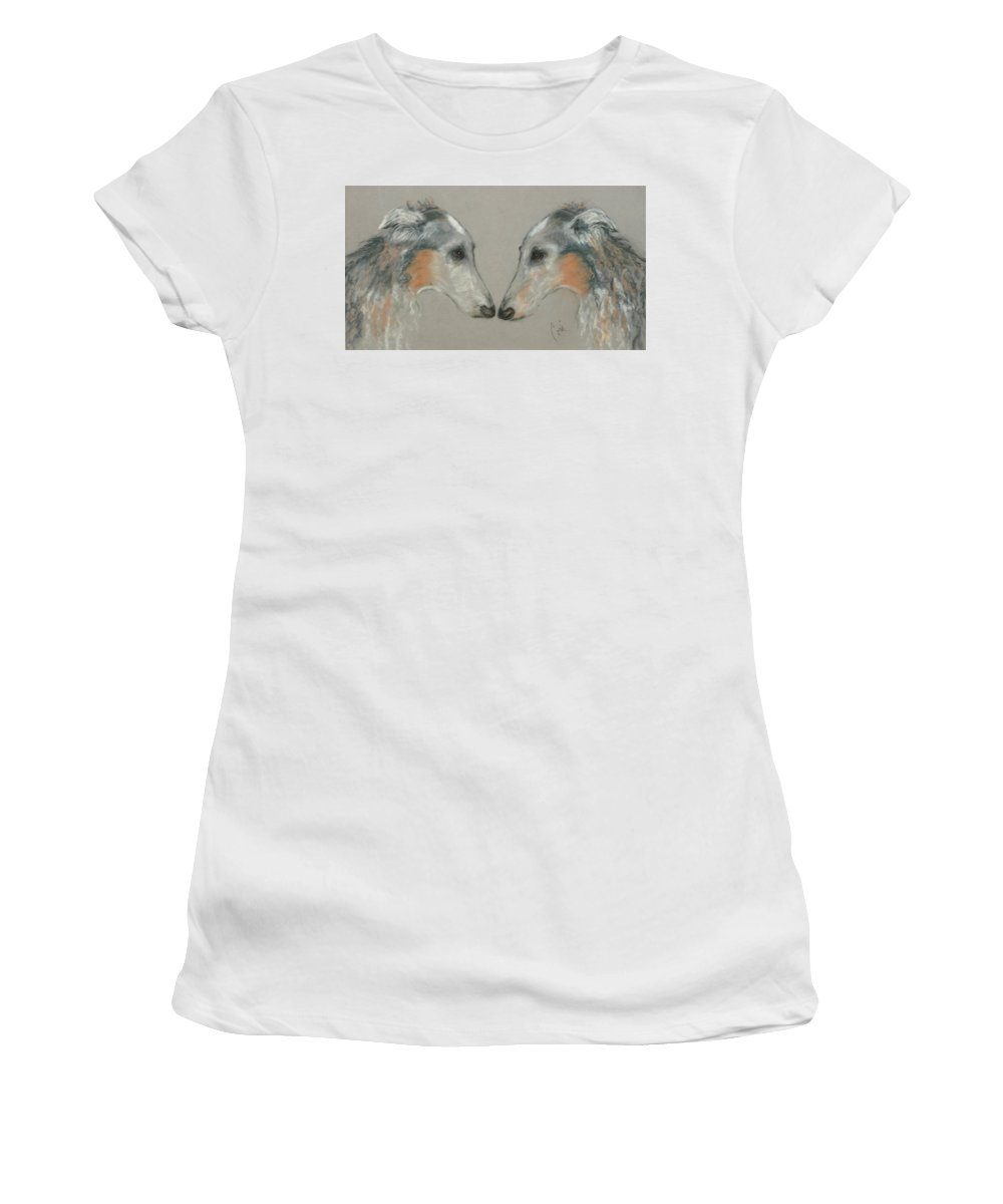Dog Women's T-Shirt (Athletic Fit) featuring the drawing Nose To Nose by Cori Solomon