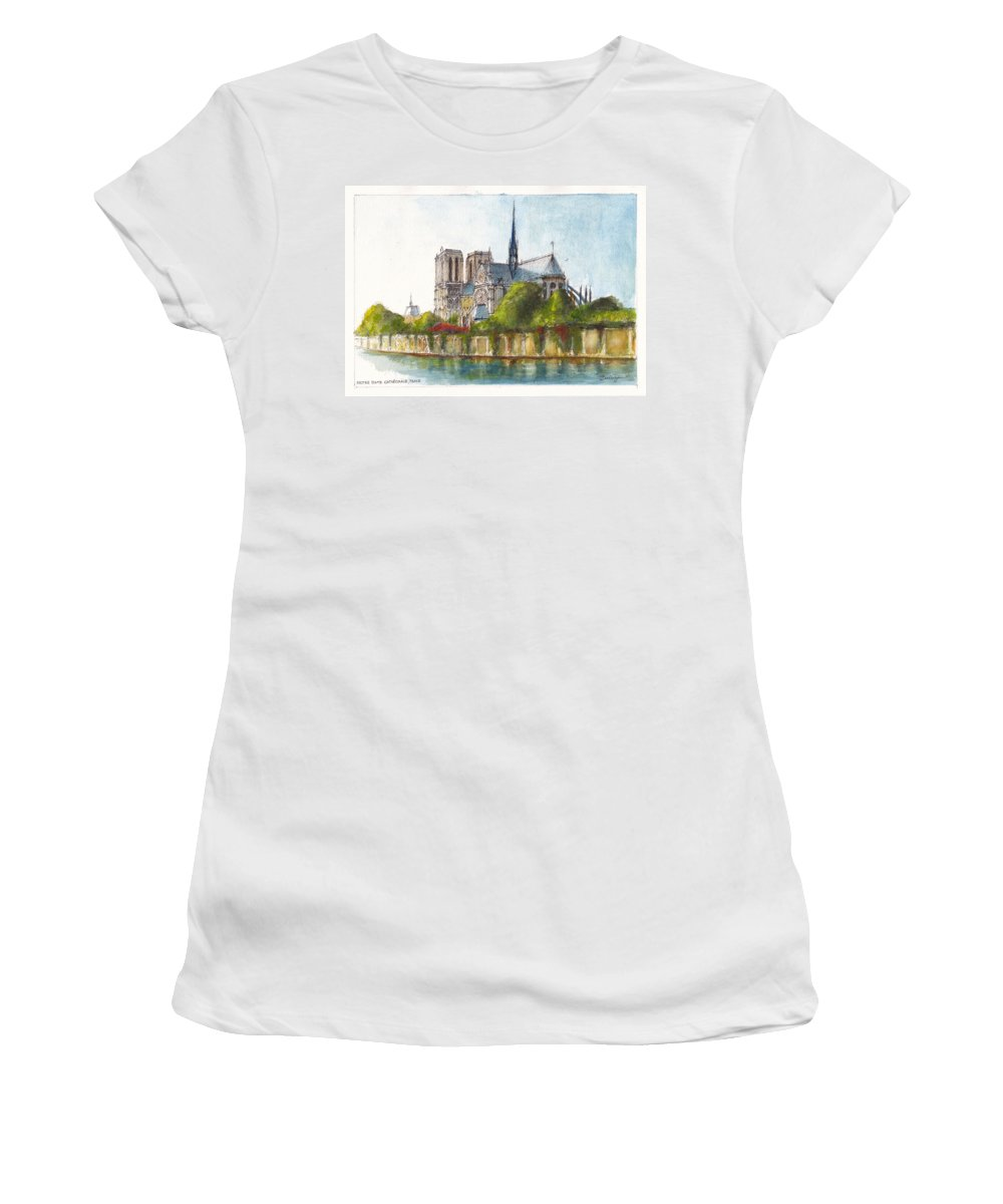 Landscape Women's T-Shirt featuring the painting Notre Dame Paris by Dai Wynn
