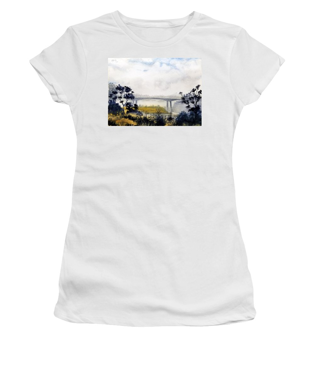 Ocean Women's T-Shirt (Athletic Fit) featuring the painting Noyo Harbor by Bruce Holder