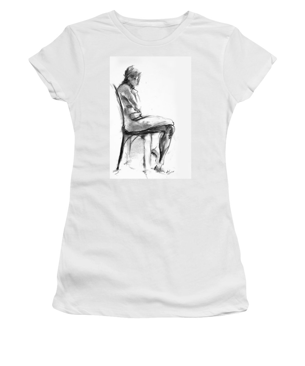 Nude Women's T-Shirt (Athletic Fit) featuring the drawing Nude 1 by Ani Gallery