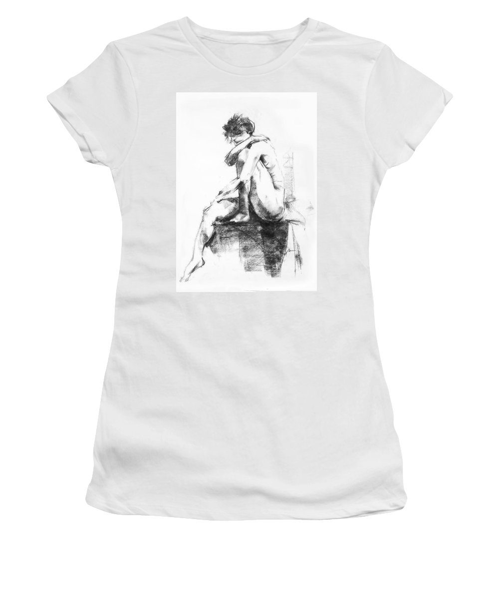 Nude Women's T-Shirt (Athletic Fit) featuring the drawing Nude 11 by Ani Gallery