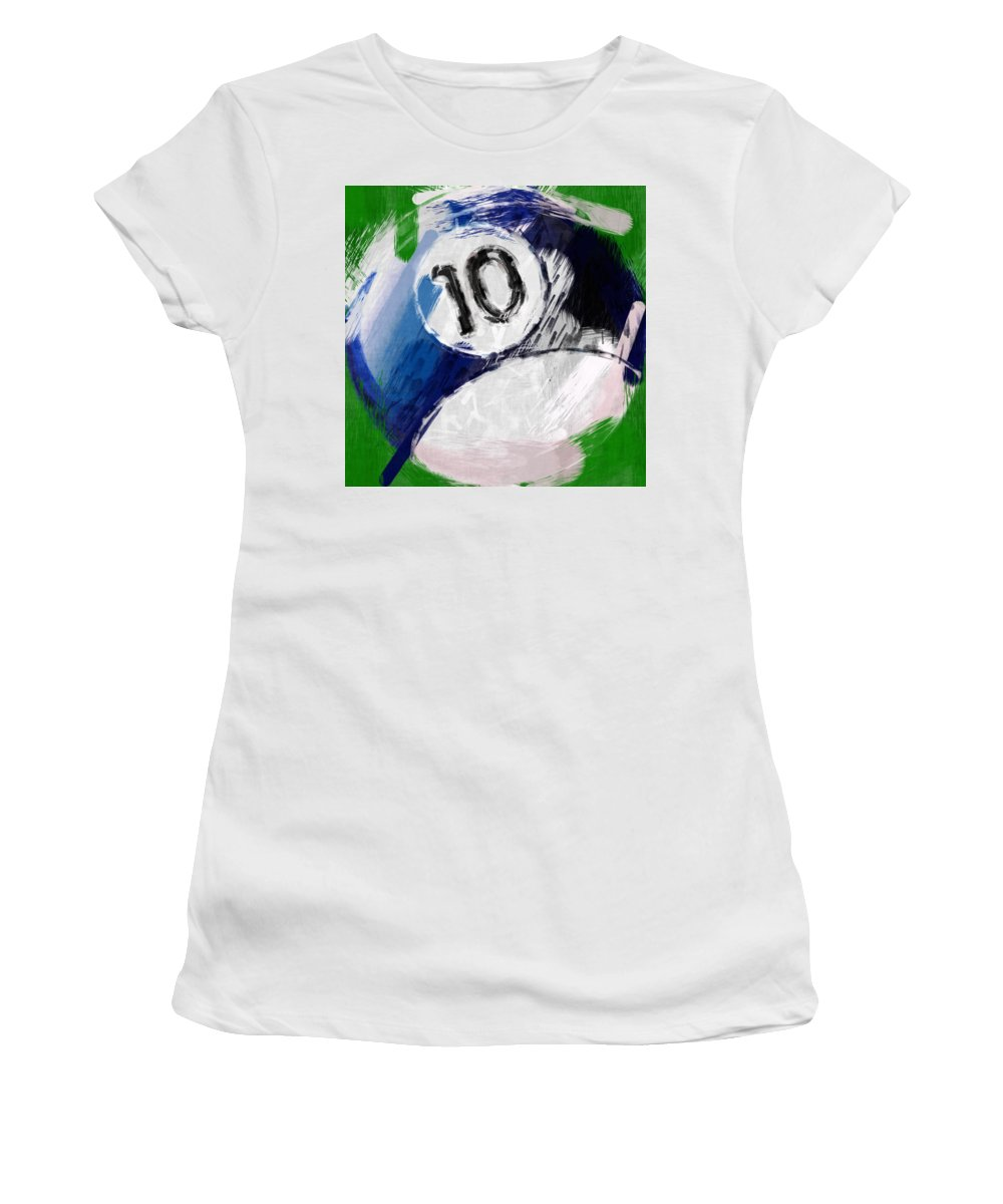 Ten Women's T-Shirt featuring the photograph Number Ten Billiards Ball Abstract by David G Paul