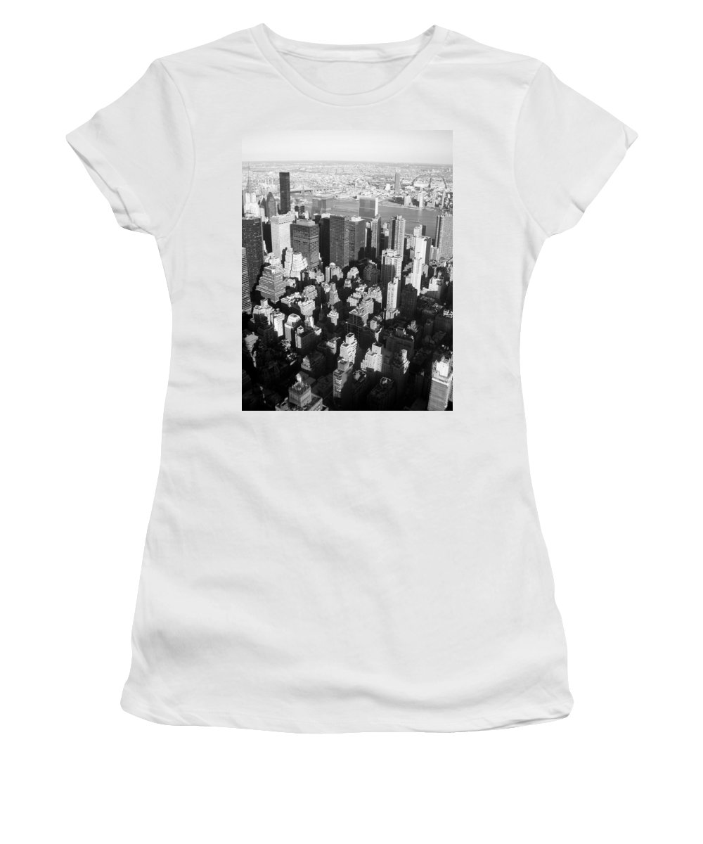 Nyc Women's T-Shirt (Athletic Fit) featuring the photograph Nyc Bw by Anita Burgermeister