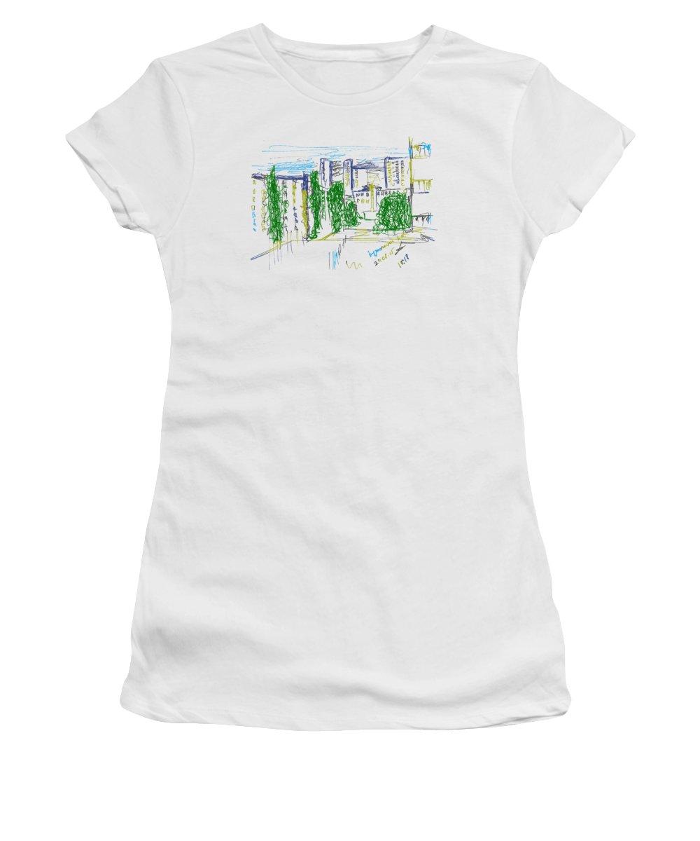Kuznechiha District Women's T-Shirt featuring the drawing Nyzhny Novgorod, Russia, Kuznechiha. 24 August, 2015 by Tatiana Chernyavskaya