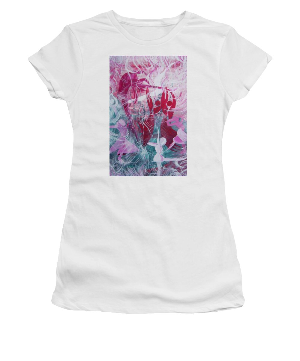 Happy Women's T-Shirt (Athletic Fit) featuring the painting O Happy Happy Day by Susan Harris