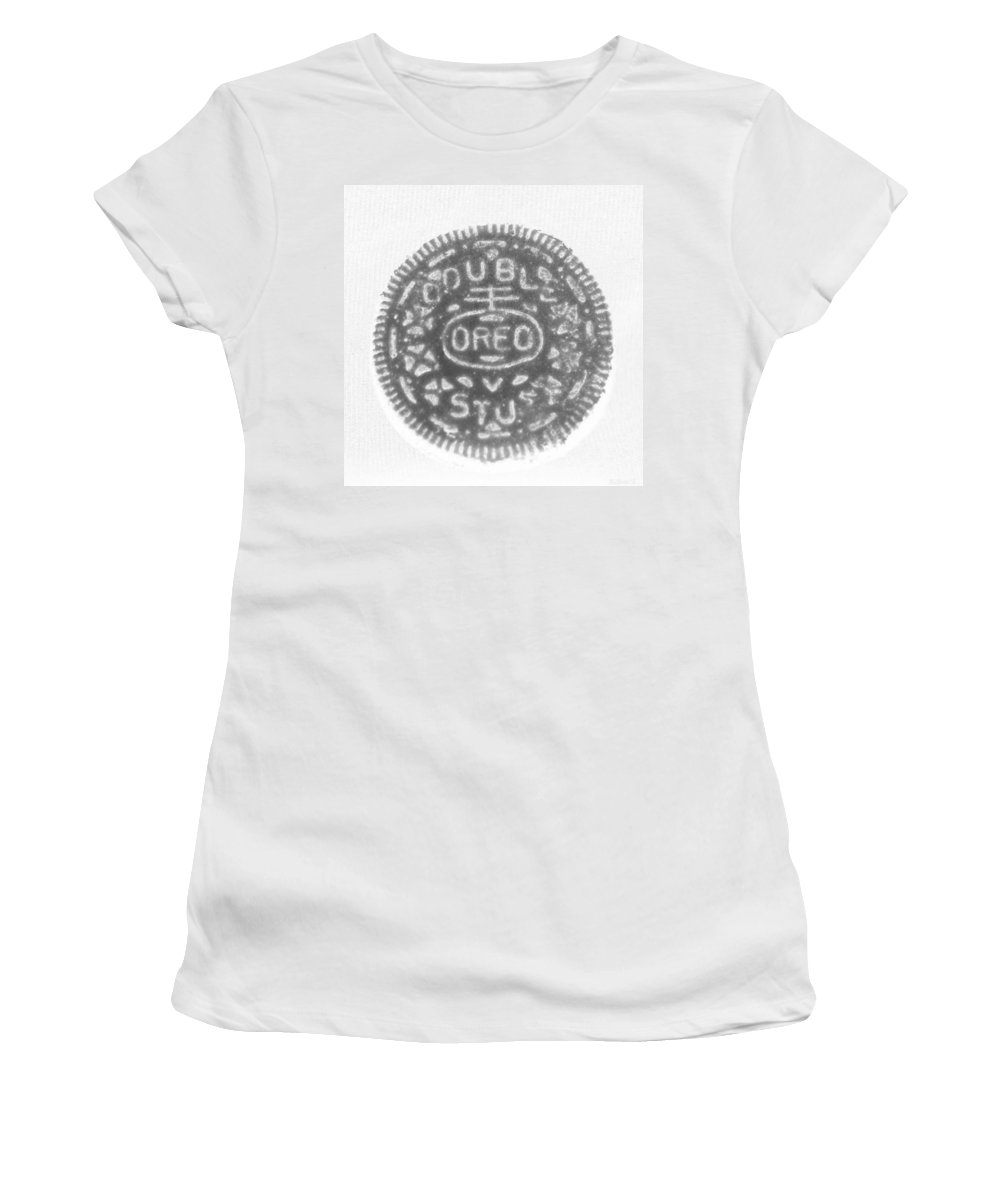 Oreo Women's T-Shirt featuring the photograph O R E O In Black Negative by Rob Hans