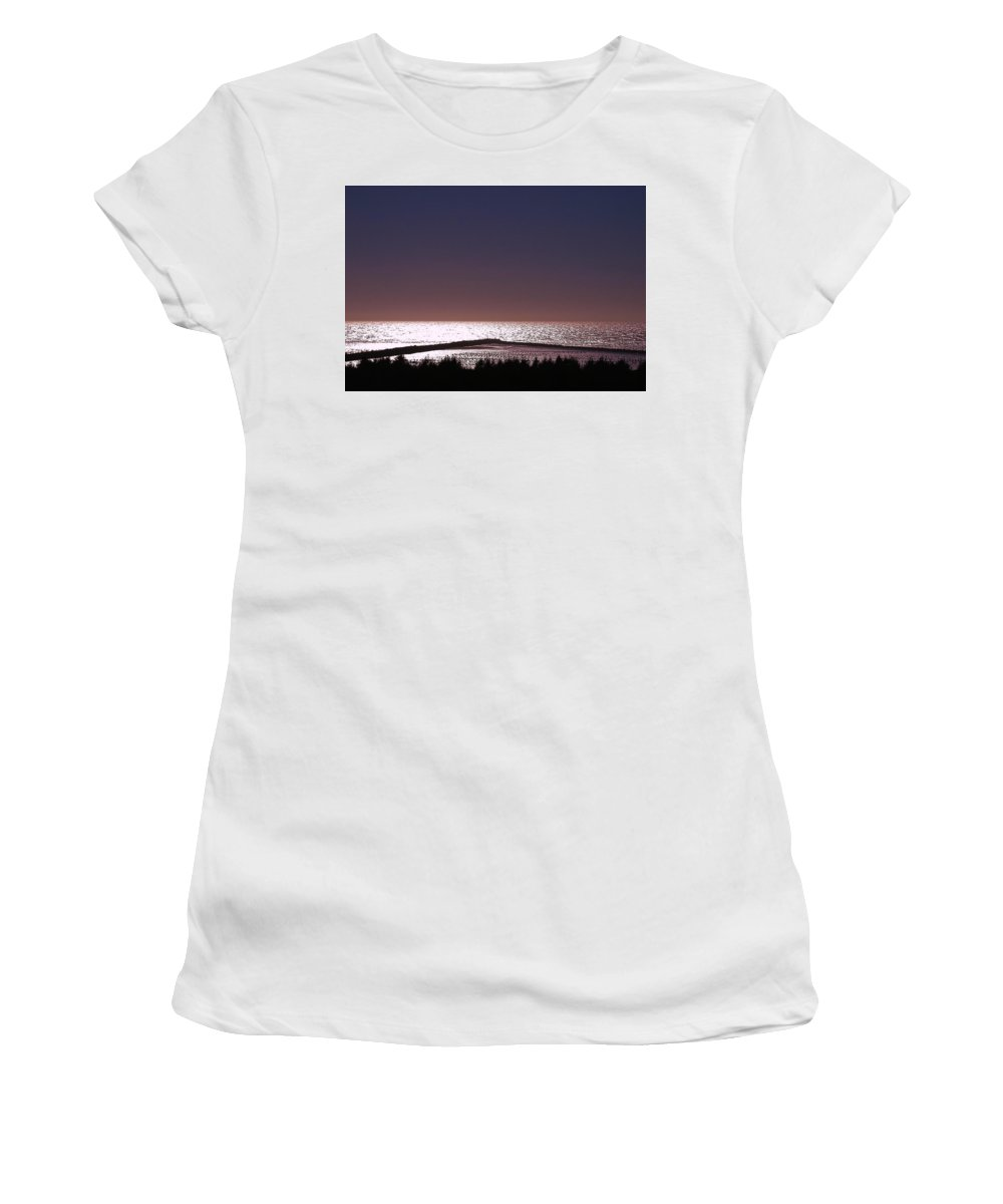 Ocean Women's T-Shirt (Athletic Fit) featuring the photograph Ocean At Dusk by Leah Stark