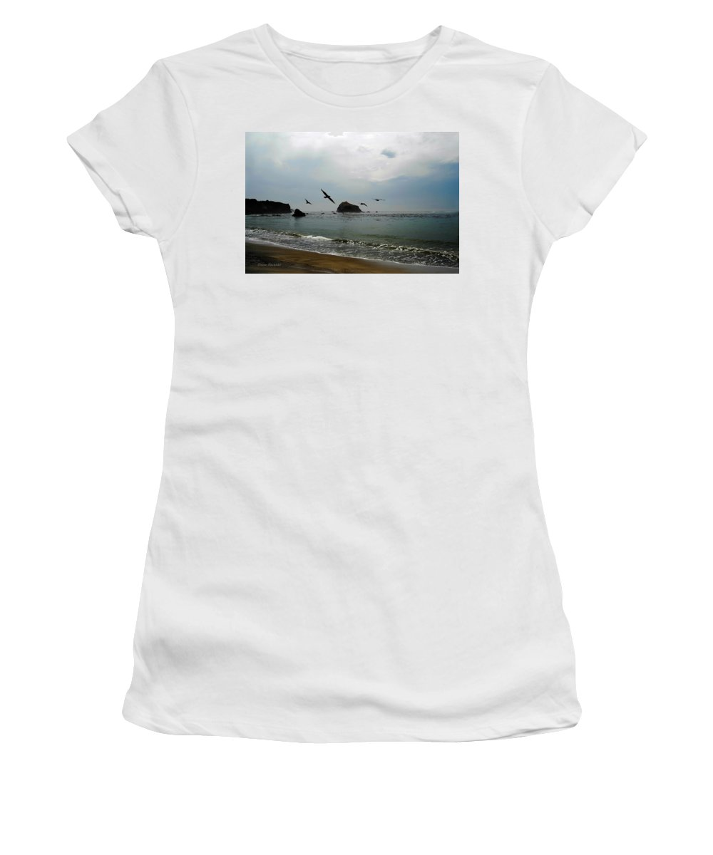 Ocean Women's T-Shirt (Athletic Fit) featuring the photograph Ocean Glass by Donna Blackhall