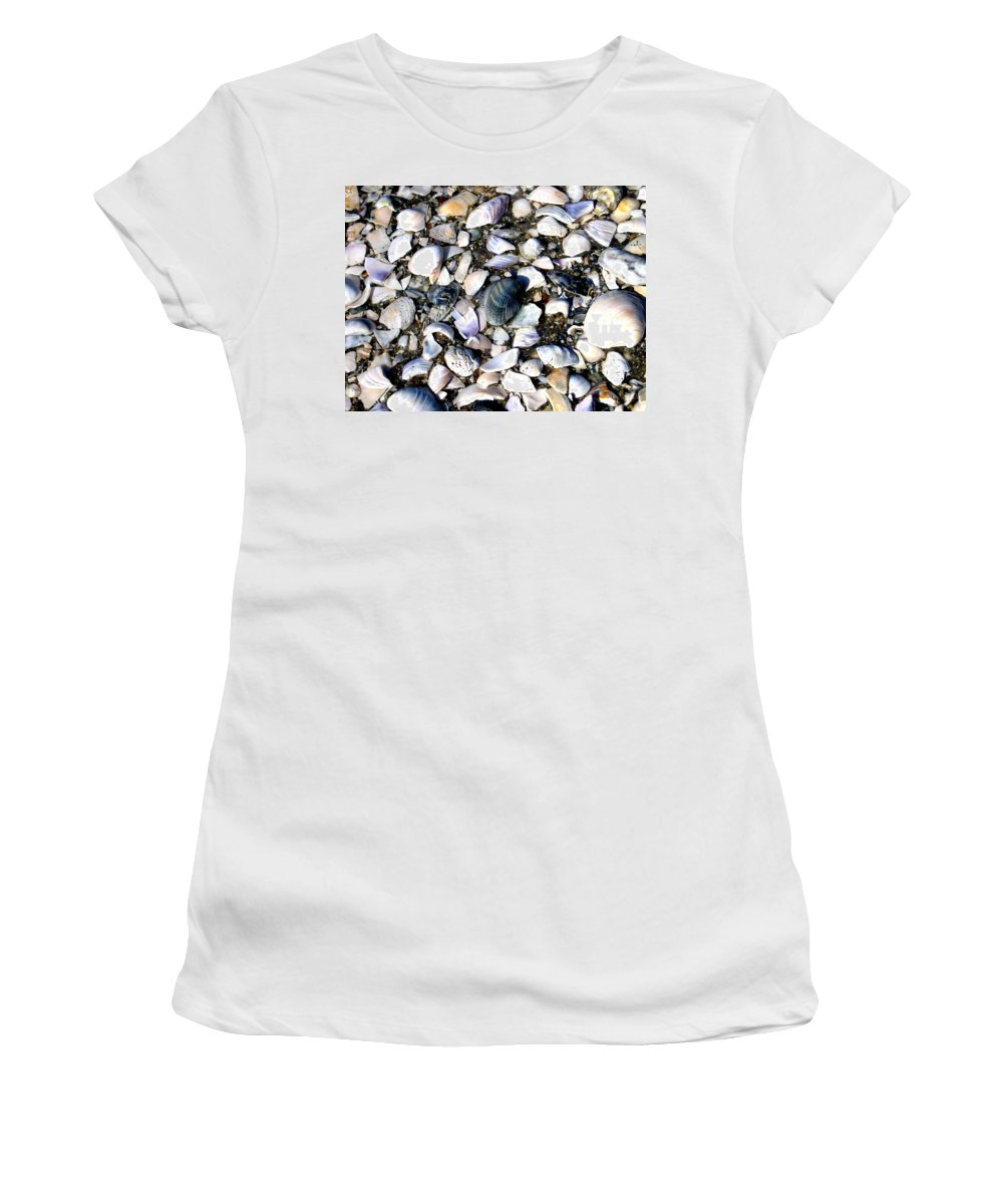 Ocracoke Women's T-Shirt (Athletic Fit) featuring the photograph Ocracoke Shells by Wayne Potrafka