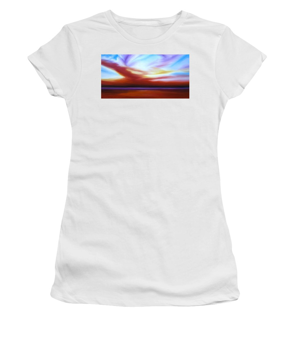 Skyscape Women's T-Shirt (Athletic Fit) featuring the painting October Sky IIi by James Christopher Hill