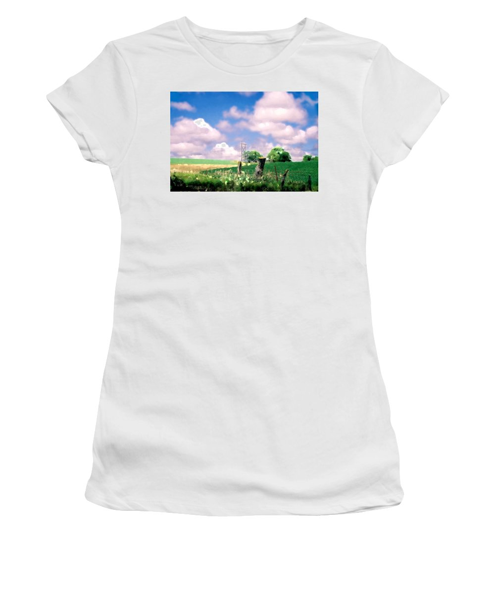 Landscape Women's T-Shirt (Athletic Fit) featuring the photograph Off The Grid by Steve Karol