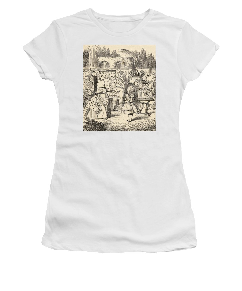 Alice Women's T-Shirt featuring the drawing Off With Her Head Illustration By John by Vintage Design Pics