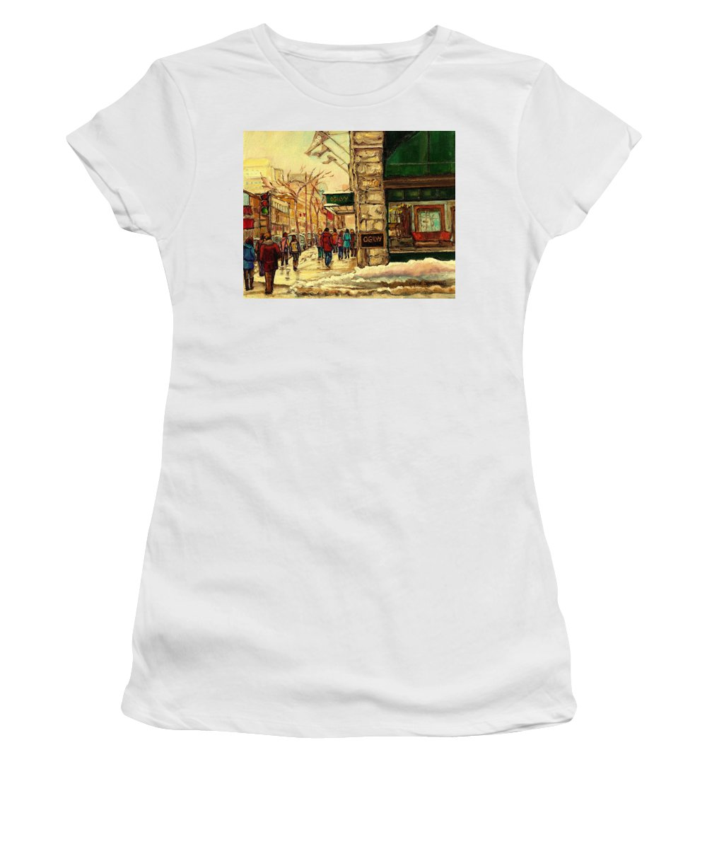 Ogilvys Department Store Women's T-Shirt (Athletic Fit) featuring the painting Ogilvys Department Store Downtown Montreal by Carole Spandau